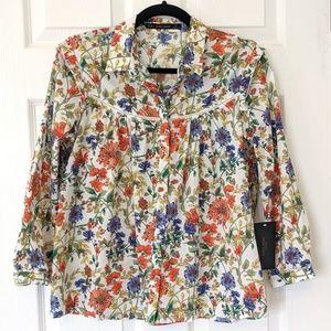 Zara Basic Cotton Colorful Floral Top Medium